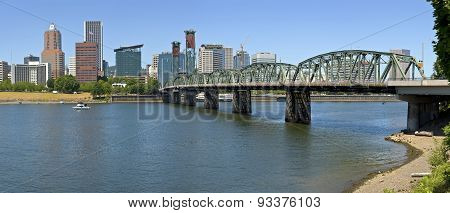 Portland Oregon Downtown Skyline Panorama.
