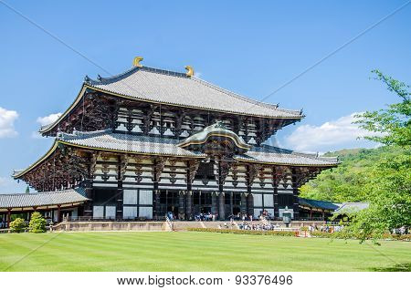 Wooden Main Building Of Todaiji Temple In Nara, Japan