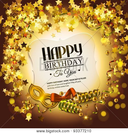 Birthday card with golden stars, colorful curling ribbons, carnival mask and confetti.