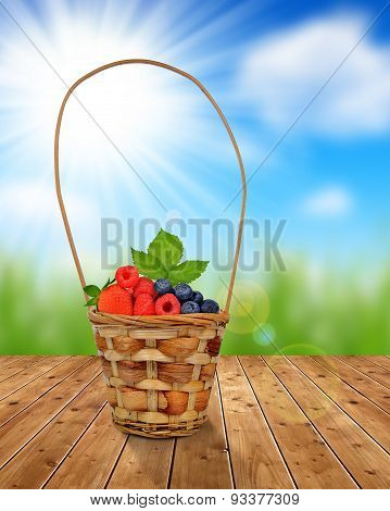 Wooden basket with fruits