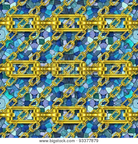 Iron Chains with Glass Mosaic Kaleidoscopic Seamless Generated Texture