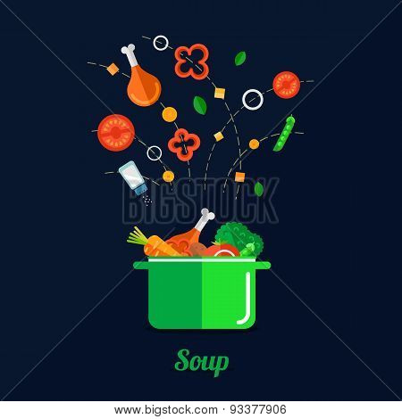 Vector Illustration Of Cooking Soup
