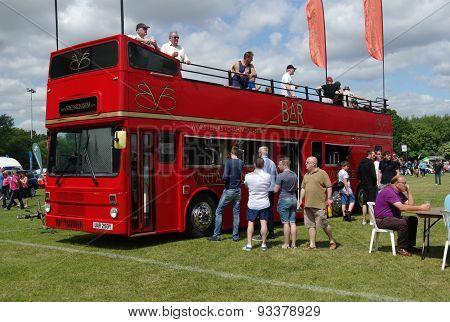 Red bus bar at Bromley pagenant of motoring