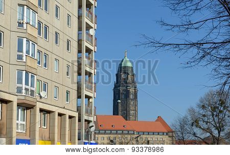 View Towards Town Hall With Old Tower In Dresden, Germany.