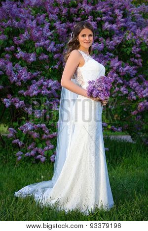 Full Length Portrait Of Beautiful Bride With Long Veil Standing Near Blooming Lilac Tree
