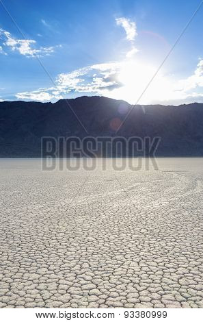 Long Traces Of Moving Stones In Racetrack Playa Old Dried Lake In Death Valley National Park