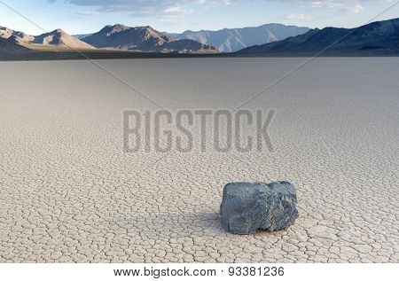 Mysteriously Moving Stones And Its Long Traces At The Racetrack Playa In Death Valley National Park,