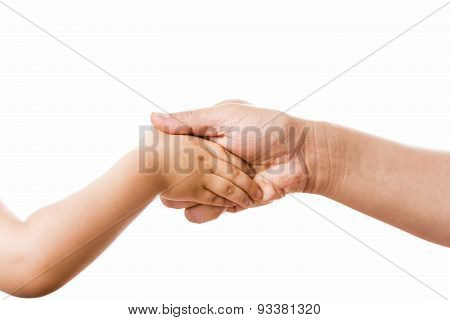 Handshake Connecting Mother And Young Child