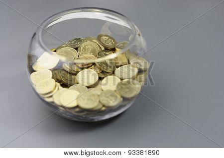 Gold Coins In The Bowl - Financial Concept