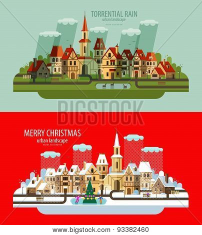 City landscape. Set of elements - house, building, village, tower, chapel, bell tower, street, road,
