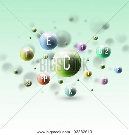Three dimensional glowing color spheres on green background. Abstract colorful design of vitamins. S