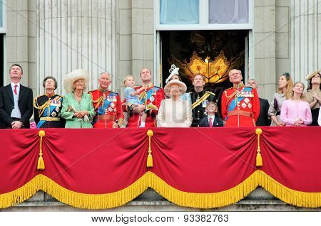LONDON, ENGLAND, UK- JUNE 13 2015: The Royal Family appears on Buckingham Palace balcony during Troo