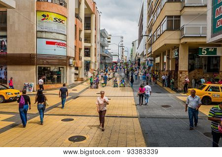 Important commercial street one of the city landmarks Centro Comercial de Cielos Abiertos in Armenia