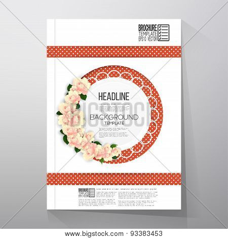 Floral background with place for text and pink flowers over red dotted background. Brochure or flyer