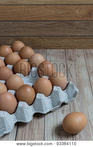 Leadership Concept : An Egg Is Outstanding From The Group Of Brown Eggs.