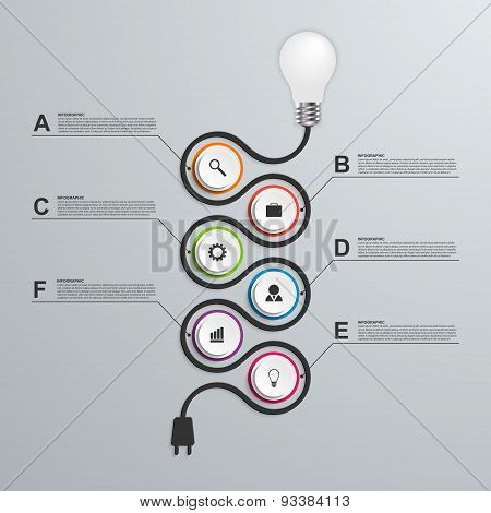Abstract Infographics Design Template. 3D Light Bulb
