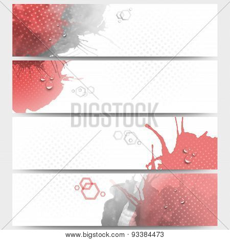 Abstract hand drawn spotted background with empty place for text message. Web banners collection, ab