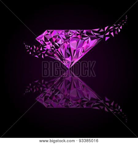 Pink Diamond Logo, Background For Jewelry Or Gems Company