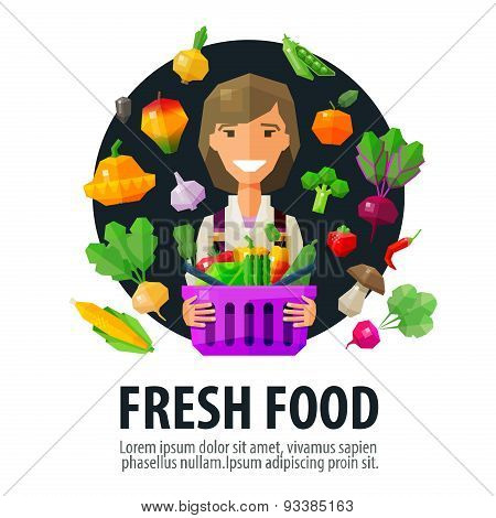fresh food vector logo design template. fruits and vegetables or vegetarian diet  icon