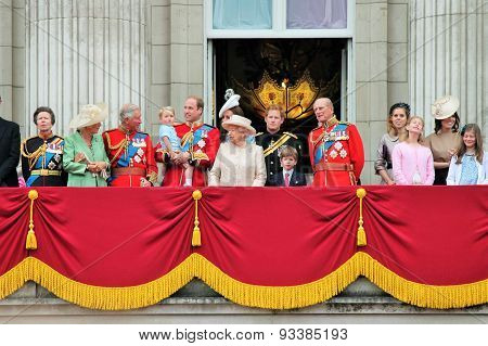 LONDON, ENGLAND, UK - JUNE 13 2015: The Royal Family appears on Buckingham Palace balcony during Tro