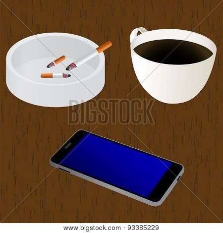 Elements For Design On The Table: Cup Of Coffee, Ashtray, Cigarettes, Mobile Device (smartphone).