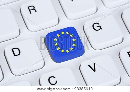 Europe, Eu, European Union Flag Internet On Computer Keyboard