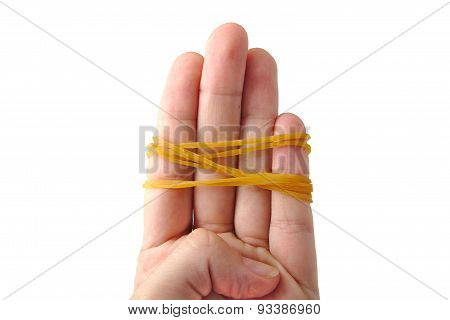 Hands tied up with rubber bands isolated on a white background