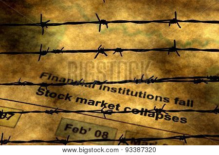 Global Crisis And Barbwire Concept