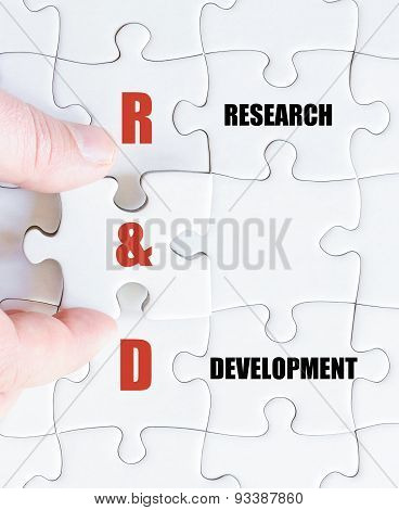 Last Puzzle Piece With Business Acronym R&d