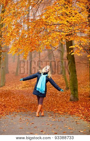Girl Relaxing Walking In Autumnal Park, Outdoor