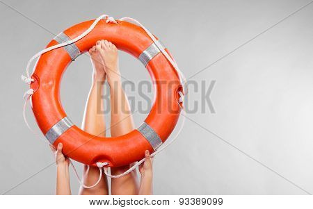 Life Buoy Ring On Female Legs