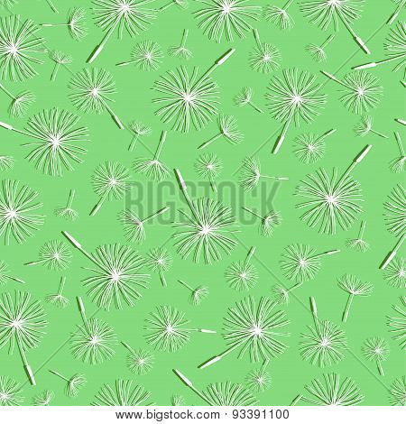 Light Green Seamless Pattern With Dandelion Fluff