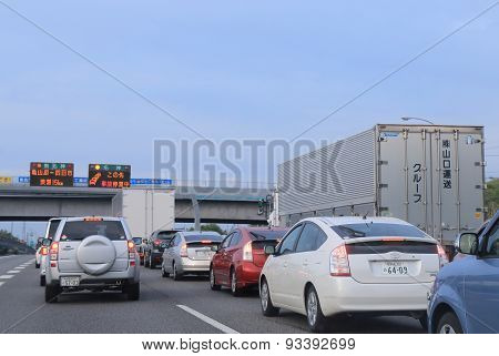 Highway traffic jam Japan