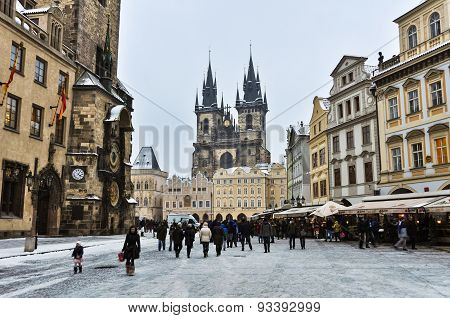Old Town Square of Prague in Winter