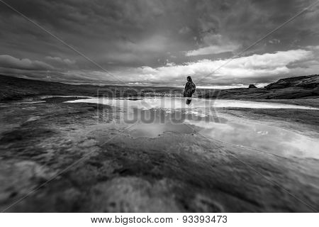 Black And White Dramatic Clouds Hiker Backpacker Neon Canyon Beginning Of The Trail