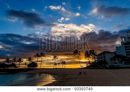 Tropical Beach Sunset  In Oahu, Hawaii