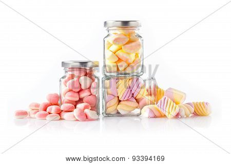 Colorful sweet candies on white