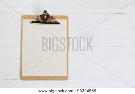 Blank Clipboard On White Desktop
