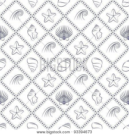 Elegant nautical pattern in navy blue and white colors.