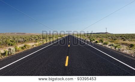 Straight road in the desert