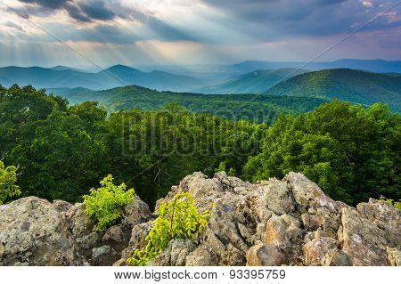 Crepuscular Rays Over The Blue Ridge Mountains Seen From Loft Mountain In Shenandoah National Park,
