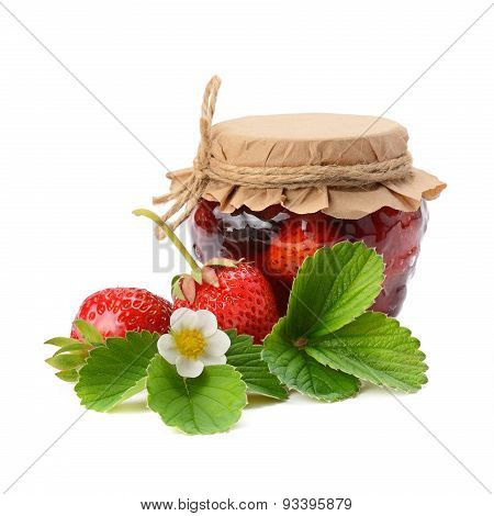 Strawberries And Jam Isolated On White Background