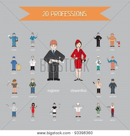 Profession of different people - vector