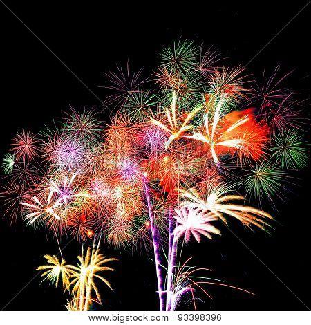 Firework celebration on dark background.