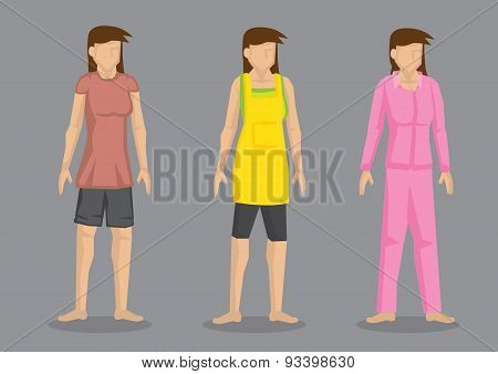 Women In Home Clothes Vector Character Illustration
