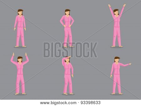 Young Girl In Pink Pajamas Vector Character Set