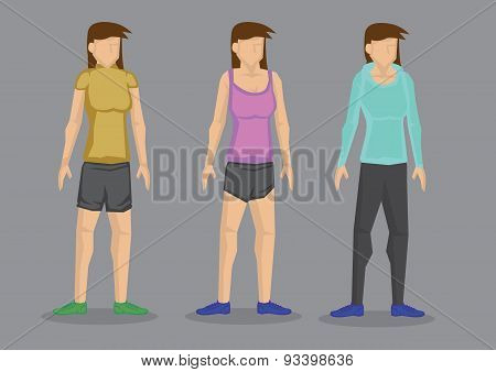 Women In Sporty Outfit Vector Cartoon Character Illustration