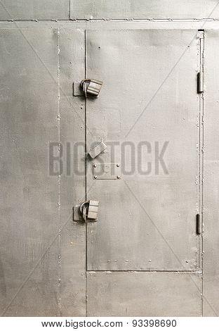 Single Silver Painted Locked Metal Door