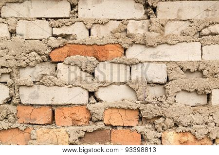 Messy Old Concrete Bricked Wall