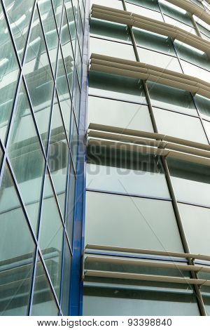 Modern Building Angled Glass Wall